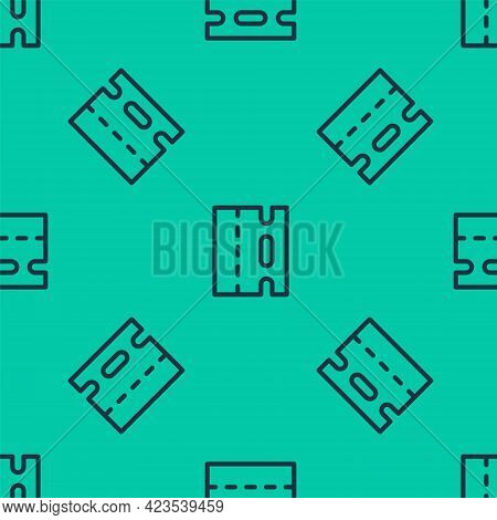 Blue Line Special Bicycle Ride On The Bicycle Lane Icon Isolated Seamless Pattern On Green Backgroun