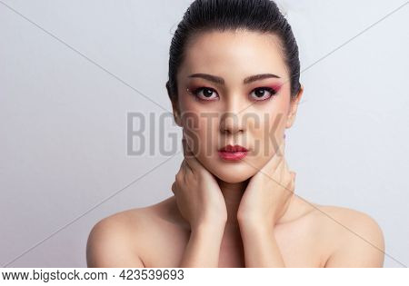 Makeup Asian Woman Colorful Eyeshadow With Extreme Long False Eyelashes. Eyelash Extensions. Makeup,