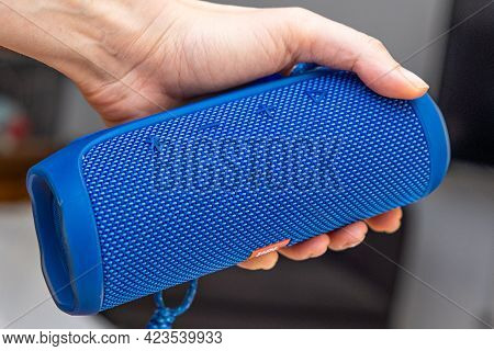 Istanbul, Turkey - May, 2021: Hand Holding Jbl Bluetooth Music Speaker Marco Close Up