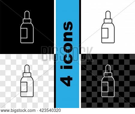 Set Line Essential Oil Bottle Icon Isolated On Black And White, Transparent Background. Organic Arom