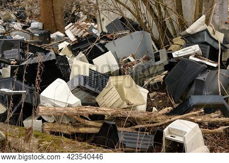 Old Computers Abandoned In A Suburban Rubble