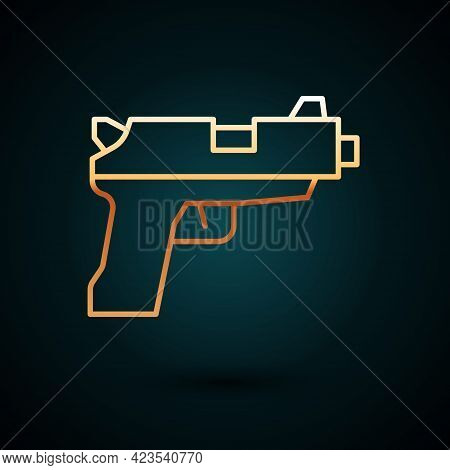 Gold Line Pistol Or Gun Icon Isolated On Dark Blue Background. Police Or Military Handgun. Small Fir