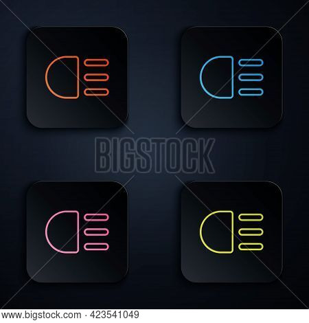 Color Neon Line High Beam Icon Isolated On Black Background. Car Headlight. Set Icons In Square Butt