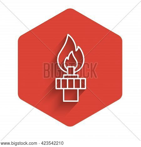 White Line Oil Rig With Fire Icon Isolated With Long Shadow Background. Gas Tower. Industrial Object