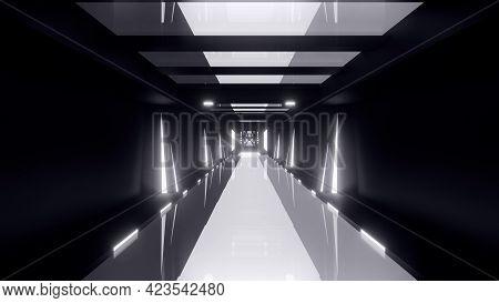 Futuristic 3d Illustration Of Dark Geometric Corridor