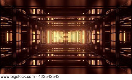Abstract 3d Illustration Of Repeating Geometric Tunnel