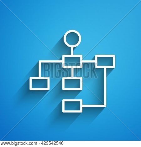 White Line Business Hierarchy Organogram Chart Infographics Icon Isolated On Blue Background. Corpor