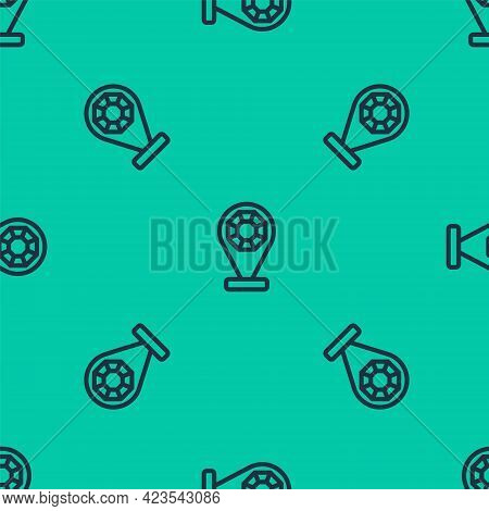 Blue Line Front Facade Building Jewelry Store Icon Isolated Seamless Pattern On Green Background. Ve