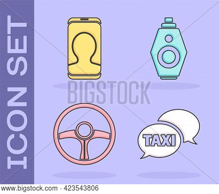 Set Taxi Call Telephone Service, Taxi Call Telephone Service, Steering Wheel And Car Key With Remote