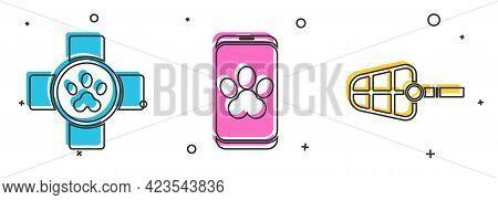 Set Veterinary Clinic Symbol, Online Veterinary Clinic Symbol And Dog Muzzle Icon. Vector