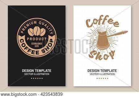 Coffe Shop Logo. For Logo, Badge Template. Vector. Flyer, Brochure, Banner, Poster Design With Coffe