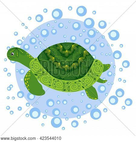 Green Scandinavian Style Turtle With Painted Shell Pattern Hand Drawn, Among The Water Bulbs.