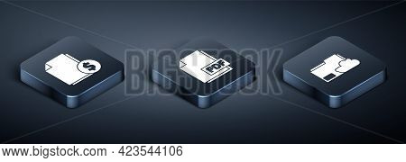 Set Isometric Finance Document, Cloud Storage Text Document Folder And Pdf File Document Icon. Vecto