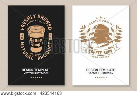 Set Of Coffe Shop Logo, Badge Template Vector Flyer, Brochure, Banner, Poster Design With Paper Coff