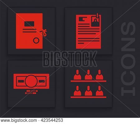 Set Jurors, Lawsuit Paper, Lawsuit Paper And Stacks Paper Money Cash Icon. Vector