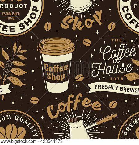 Set Of Coffe Shop Seamless Pattern Or Background. Vector Seamless Scene With Paper Coffee Cup, Branc