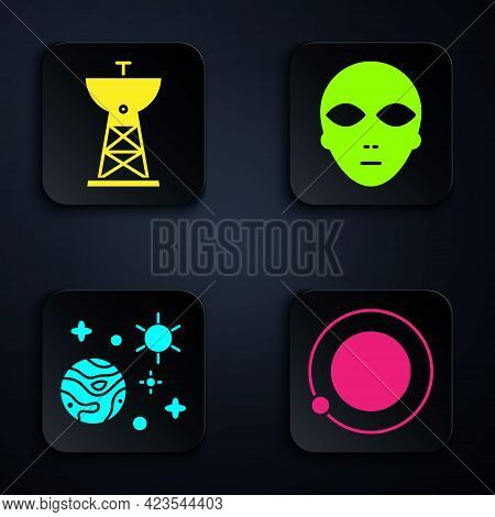 Set Satellites Orbiting The Planet Earth, Satellite Dish, Space And Planet And Alien. Black Square B