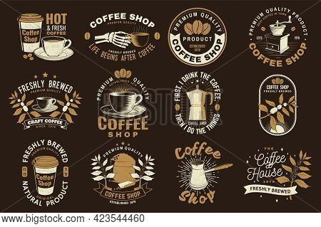 Set Of Coffe Shop Logo, Badge Template. Vector Typography Design With Paper Coffee Cup And Branch Of