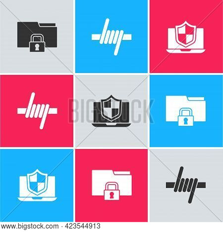 Set Folder And Lock, Barbed Wire And Laptop Protected With Shield Icon. Vector