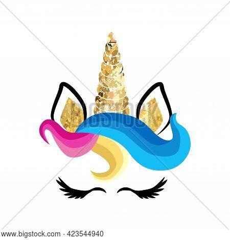 Fabulous Cute Unicorn With Golden Gilded Horn And Closed Eyes