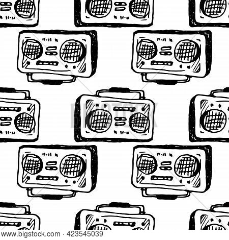 Vector Of A Portable Music Recorder With A Black Outline, Hand-drawn In The Doodle Style On A White