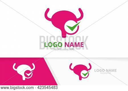 Vector Bladder And Check Mark Logo Combination. Urinary Tract Logotype Design Template.