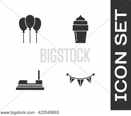 Set Carnival Garland With Flags, Balloons Ribbon, Bumper Car And Ice Cream Icon. Vector