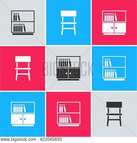 Set Library Bookshelf, Chair And Icon. Vector