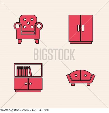 Set Sofa, Armchair, Wardrobe And Library Bookshelf Icon. Vector