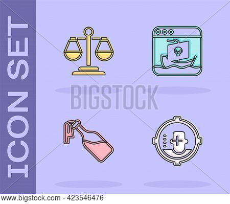 Set Headshot, Scales Of Justice, Cocktail Molotov And Internet Piracy Icon. Vector