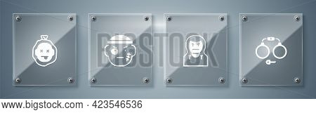 Set Handcuffs, Thief Mask, Bandit And Murder. Square Glass Panels. Vector