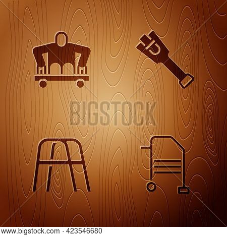 Set Walker, Man Without Legs Sitting Wheelchair, And Prosthesis On Wooden Background. Vector