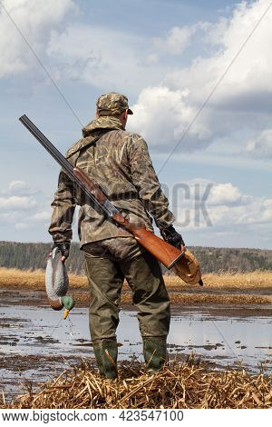 A Duck Hunter With A Duck Decoys In His Hands Stands In Front Of A Swampy Shoal. He's Got A Shotgun