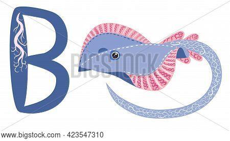Abc Kids Letter Ray Fish Blue Spotted Sea Animal Cartoon Character Ocean Animal, Cramp Fish Stingray
