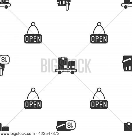 Set Cigarettes Pack Box, Hand Truck And Boxes And Hanging Sign With Open On Seamless Pattern. Vector