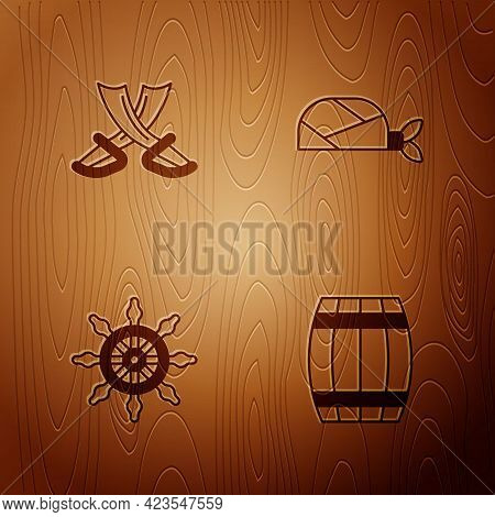 Set Wooden Barrel, Crossed Pirate Swords, Ship Steering Wheel And Pirate Bandana For Head On Wooden