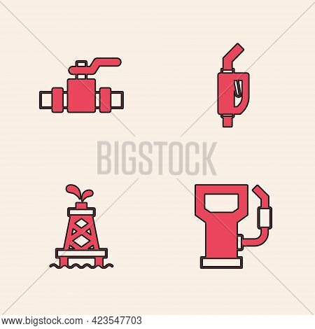 Set Petrol Or Gas Station, Metallic Pipes And Valve, Gasoline Pump Nozzle And Oil Rig Icon. Vector
