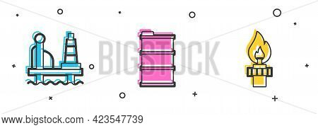 Set Oil Platform In The Sea, Barrel Oil And Rig With Fire Icon. Vector