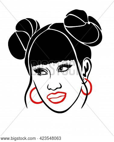 Two Cool Space Double Buns Hairstyle. Pucca Hair.black African American Girl Woman Vector Portrait P