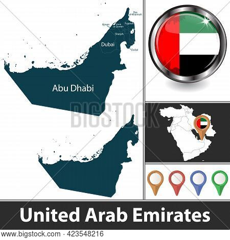 Map Of United Arab Emirates With Emirates And Location On Map Of West Asia. Vector Image