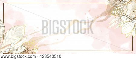 Luxurious Golden Wallpaper. White Background And Spots Of Pink Watercolor. Gold Leaves Wall Art With