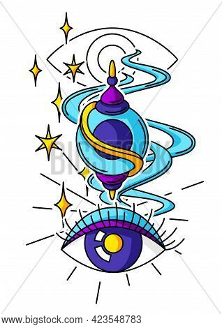 Magic Amulet And All-seeing Eye. Mystic, Alchemy, Spirituality And Tattoo Art. Isolated Vector Print