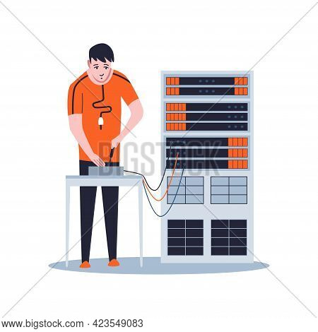 Sysadmin Maintaining Or Repairing Server. Maintaining Work, Repairing And Adjusting Network Connecti