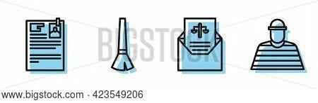Set Line Subpoena, Lawsuit Paper, Paint Brush And Prisoner Icon. Vector