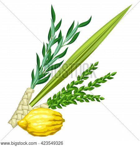 Happy Sukkot Traditional Symbols. Four Species Etrog, Lulav, Willow And Myrtle Branches.