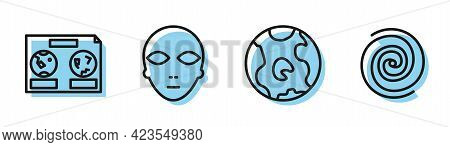 Set Line Earth Globe, Celestial Map Of The Night Sky, Alien And Black Hole Icon. Vector