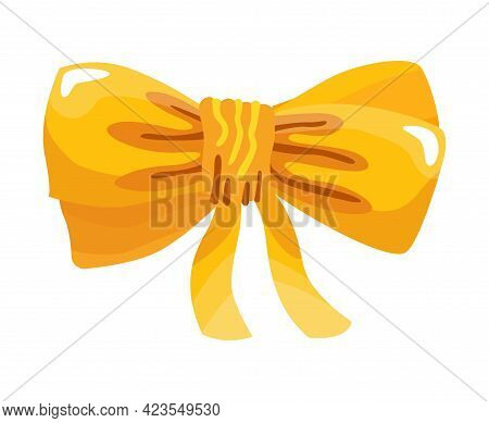 Gift Bow Colorful Flat Vector Illustration. Yellow Knot For Present Element Template. Decoration For
