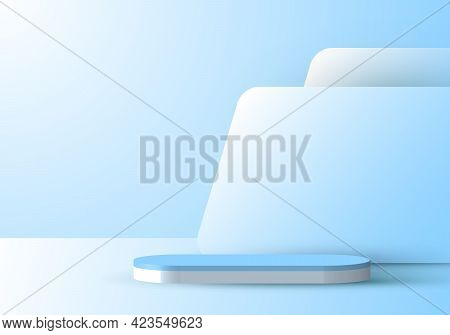 3d Realistic Blue Podium With Backdrop Minimal Scene Display Background. Design For Product Presenta