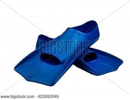 Fins Are Isolated On A White Background. Flippers. Open Toe And Closed Heel For Professional Swimmin
