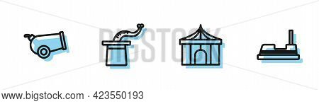 Set Line Circus Tent, Cannon, Magician Hat And Bumper Car Icon. Vector